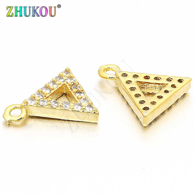 8*9mm Brass Cubic Zirconia Triangle Charms Pendants Diy Jewelry Findings, Mixed Color, Hole: 0.5mm, Model: VD19