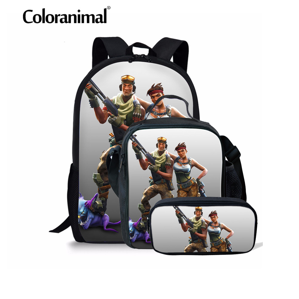 Coloranimal Orthopedic Schoolbag Children Fortnite Game Print School Bag Backpack Kid Bagpack 3PCS Set Backpack Children Satchel