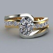 Anillo geométrico femenino con relleno de plata y anillo de oro, anillos de compromiso de boda para mujeres, los mejores regalos, compromiso de los Amantes