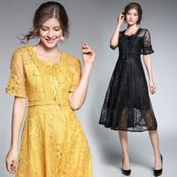 HANZANGL 2018 Woman Brand Dress Spring Summer Europe Station New Slim Thin Temperament High End Lace