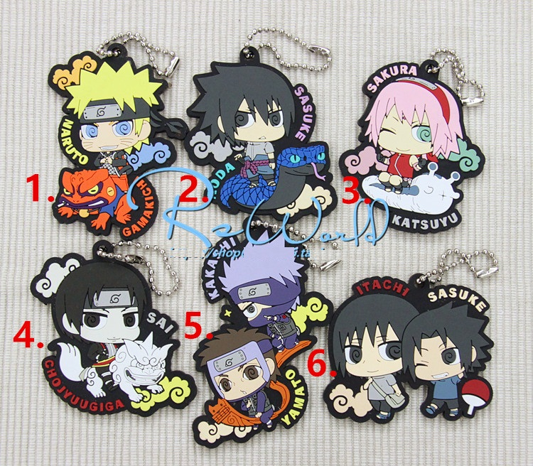 Naruto Sakura Kakashi Sasuke Anime Rubber 3rd Ver Japanese Rubber Keychain 3 pairs lot fk12 ff12 ball screw shaft guide end supports fixed side fk12 and floated side ff12