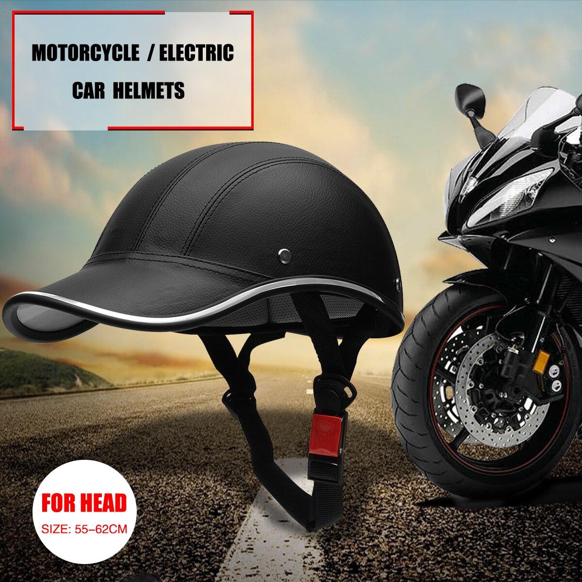 Windproof Motorcycle Electric Bike Safety Helmet Adjustable Leather Helmets US