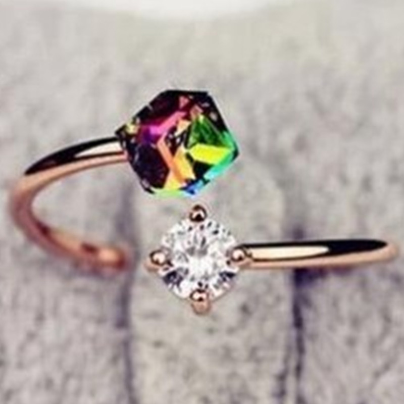 Luxury design new double jewelry rose zircon stone engagement ring Gifts for women