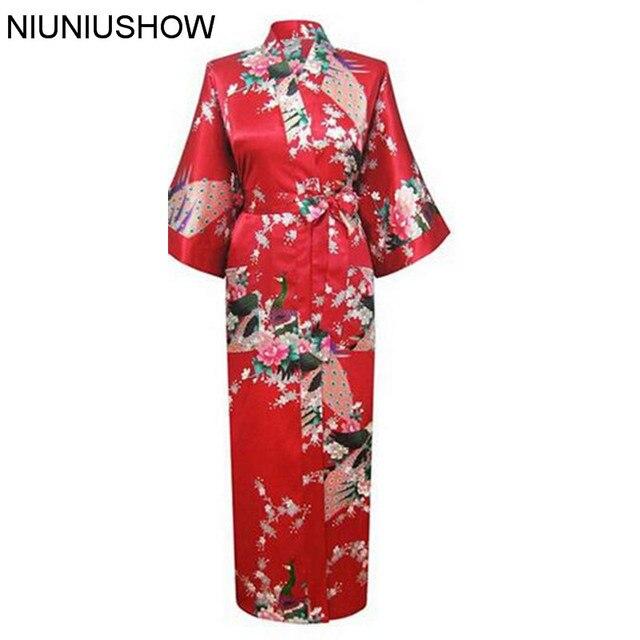 Red Floral Sexy Women Satin Robe Nightgown Print Sleepwear Housecoat Flower  Plus Size S M L XL XXL df4d71aed