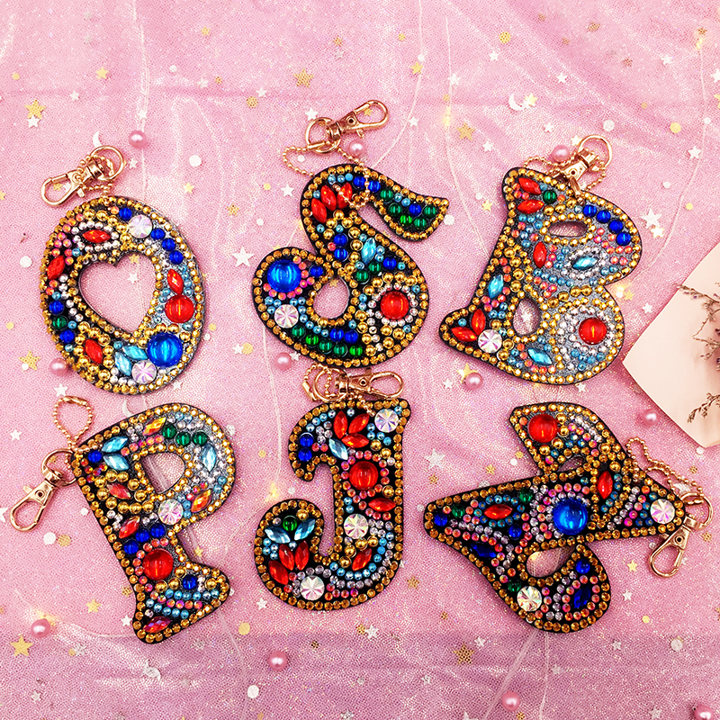 A-Z Keychain Diamond Painting Letter DIY Diamond Keyring Keychains Cross Stitch Embroidery Women Bag Key Chain Decoration