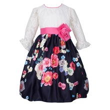 Yatheen Girls Lace/Floral Three Quarter Fit-And-Flare Dress Kids Party Dresses stripe floral print fit and flare dress