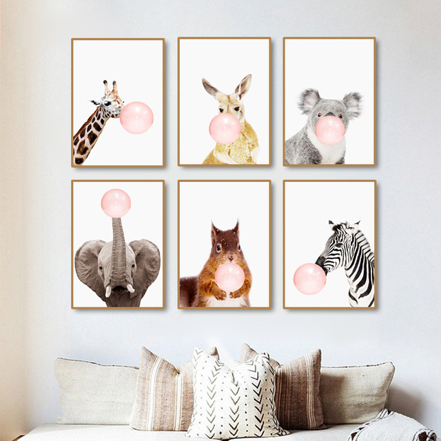 Superior Modern Pink Balloon Nordic Cartoon Zebra Cute Kids Room Decor Art Canvas  Painting Warm Family Poster
