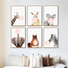 Buy zebra canvas and get free shipping on aliexpress gentle deer modern pink balloon nordic cartoon zebra canvas altavistaventures Images