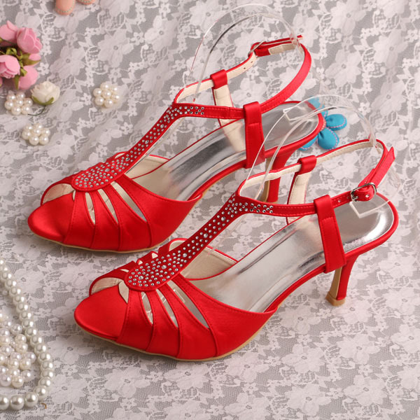 ФОТО Wedopus Customized Red Party Wedding Sandals Heels Lady Bridal Shoes Crystal