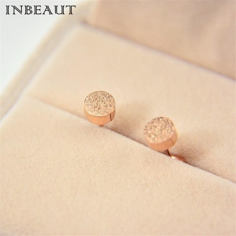 INBEAUT New Trendy Rose Gold Round Cute Stud Earrings Women Romantic Love Statement Wedding Earrings Bride Gift Teen Girls