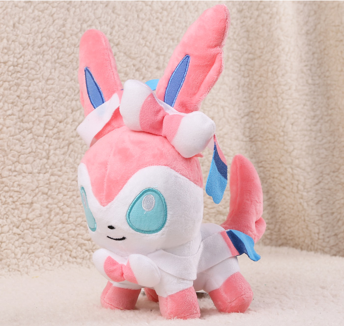 Free Shipping Cute 11 Anime Cartoon Sylveon Stand Version 29cm Soft Stuffed Toy Kids Plush Doll Toy Gift