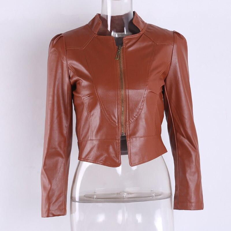 Female Women Motorcycle Leather Coat Jackets Women's Autumn Winter Coats Long Sleeve PU Leather Bomber Jackets Black Outerwear