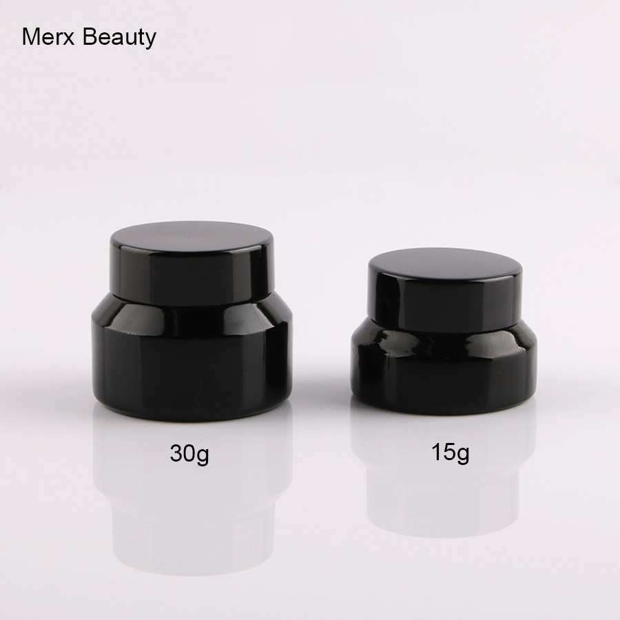 10Pcs 15g 30g 1 oz/1oz Empty Upscale Refillable Black Cosmetics Cream Glass Bottle Container Pot Case Jar with Black Lid verb styling cream 5 3 oz