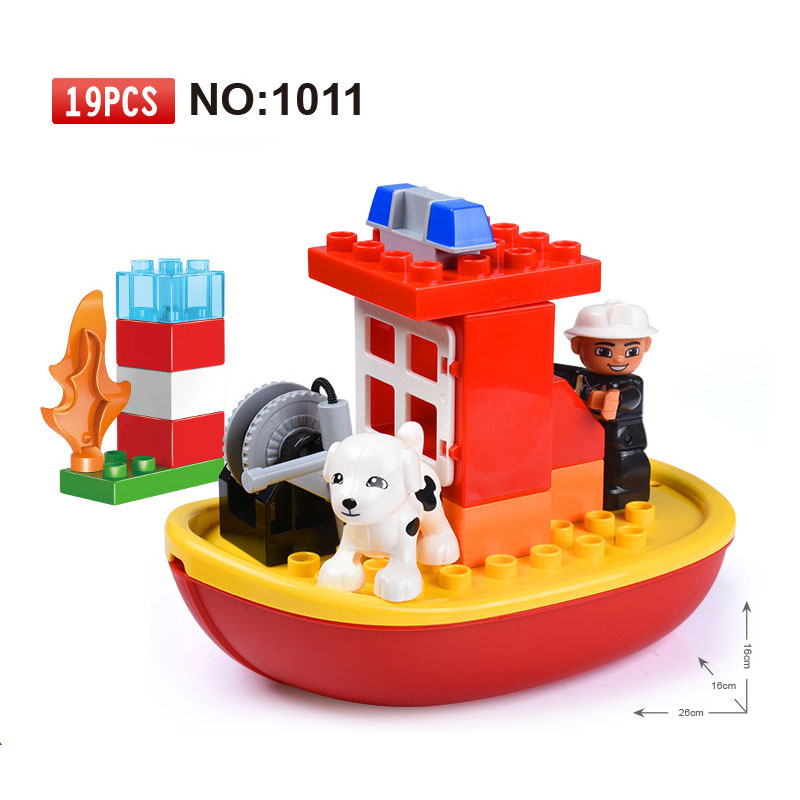 GOROCK Big Blocks City Fire Department Firemen Building Blocks Det Kids DIY Bricks Toys Compatible With Duploe For Baby Gifts gorock 109pcs big blocks city fire department firemen building blocks set kids diy bricks creative toys compatible with duploe
