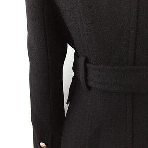 Image 5 - חדשה באיכות גבוהה אופנה 2020 סתיו חורף מעצב מעיל נשים של טור כפתורים כפול האריה כפתורי צמר מעיל מעיל