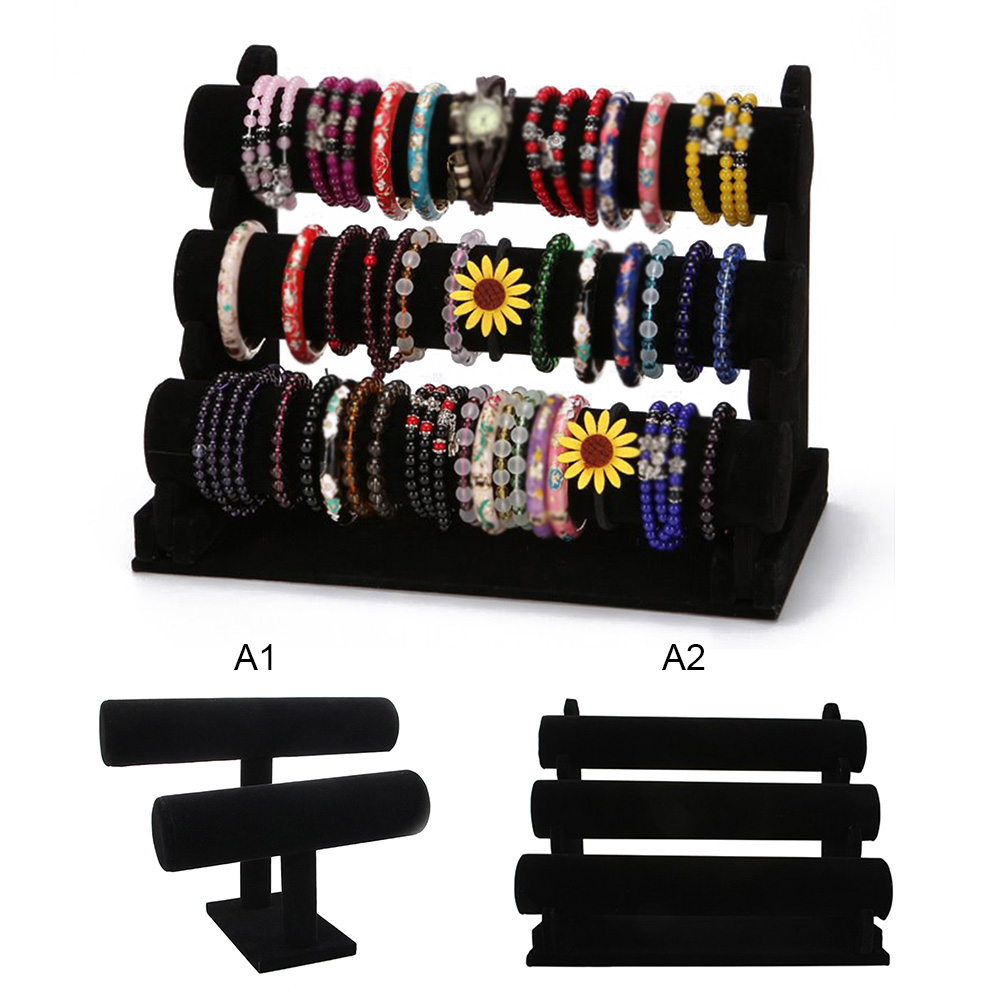 Black Portable Mult-layer Velvet Bracelet Bangle Necklace Display Stand Holder Headwear Watch Jewelry Organizer T-Bar Rack