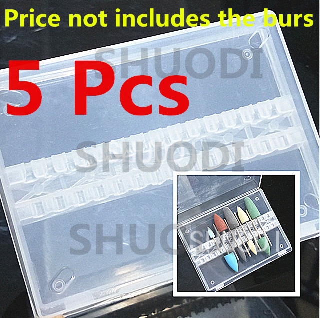 5 Pcs Empty Plastic Storage Case Box for Dental burs drills 14 slots 2.35mm diameter ( without burs and drills in image)