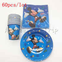 60 pcs/lot of Mickey mouse theme children like the Disposable party supplies birthday 20 napkins + 20 cup +20 plate