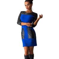Nice Fashion Women Casual Dress Leather Patchwork Three Quarter Pocket medium long O neck Vestidos Female Spring Bodycon Dresses