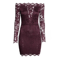 New Brand Party Club Wear Women Fashion Vestidos Sexy Black/Wine Slash Neck Long Sleeve Off the Shoulder Lace Bodycon Dress