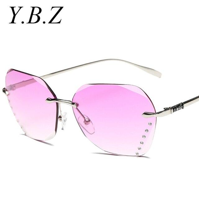 2017 new gafas de sol para las mujeres calidad de la corte gradiente sin montura gafas de sol mujer gafas de sol marcos únicos lente transparente gd2673