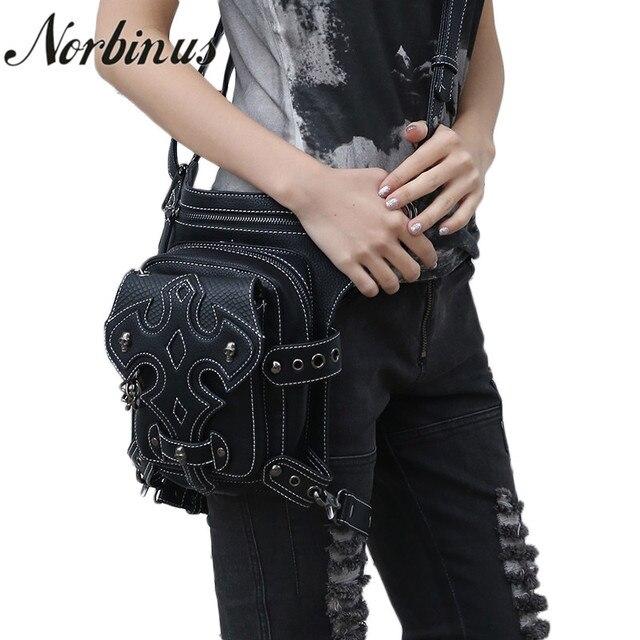 Norbinus Steampunk Women Waist Packs Men Motorcycle Drop Leg Bag Leather Messenger Shoulder Belt
