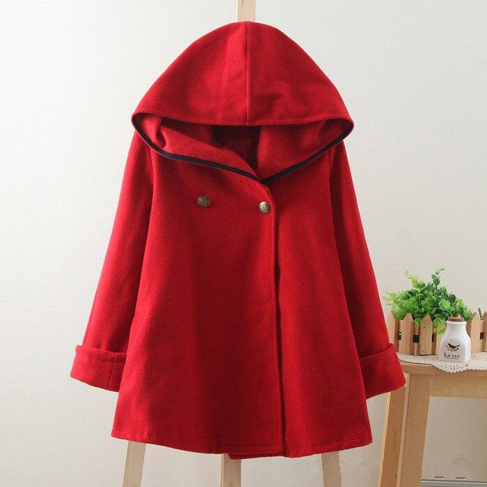 Новинка зимы, винтажный шерстяной плащ в консервативном стиле, матросское темно-синее пальто, верхняя одежда, Женская свободная красная однотонная Осенняя накидка - Цвет: Красный