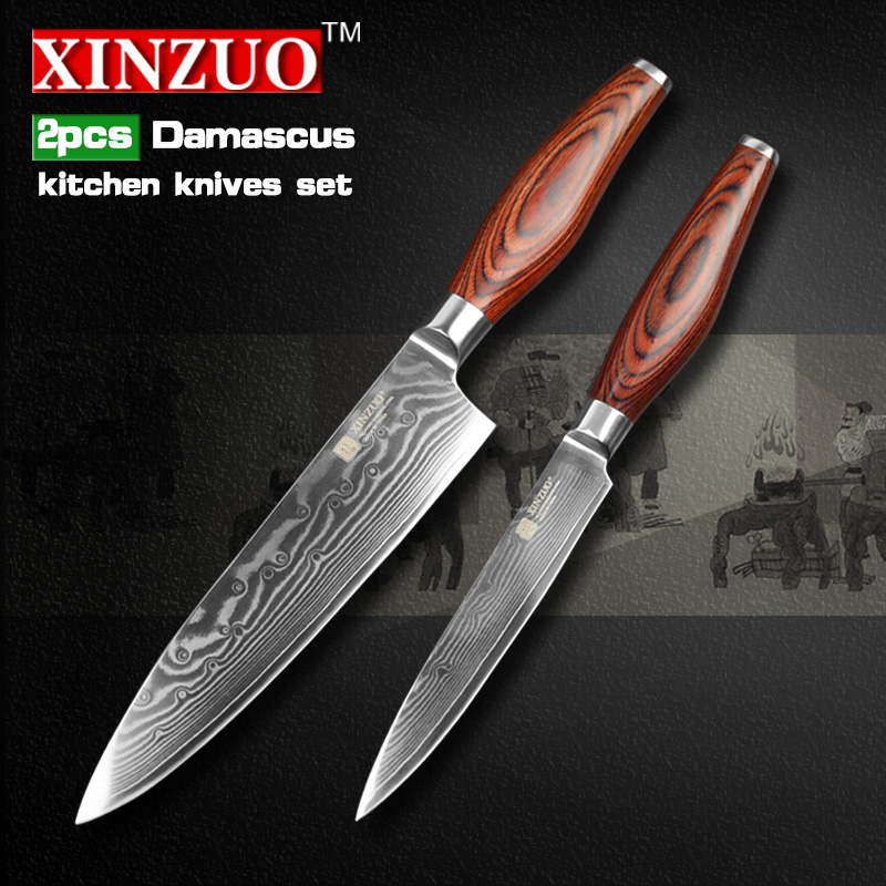 XINZUO 2 pcs kitchen font b knives b font set Damascus kitchen font b knife b