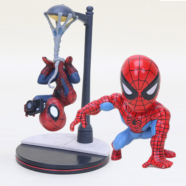 8 cm/14 cm BobbleHead Superhero Spiderman Spiderman com câmera PVC Action Figure Toy Dolls figura do homem-Aranha