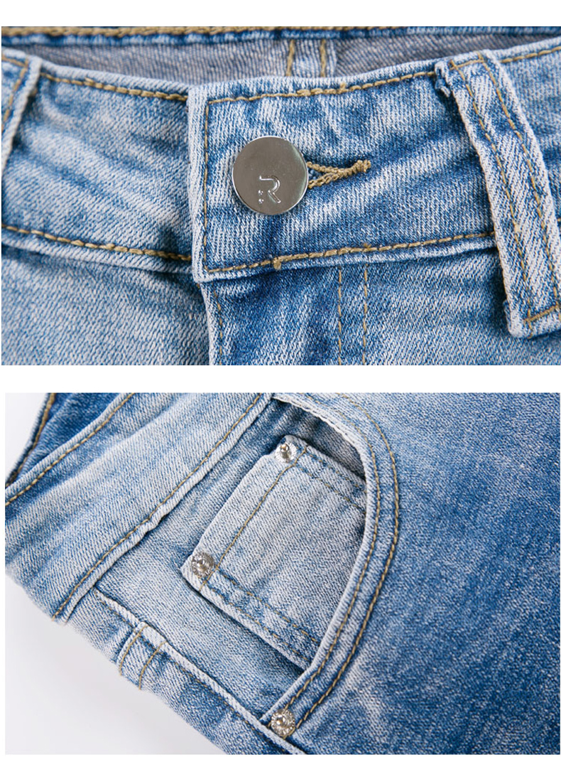 f7225d0f09373 FERZIGE 2019 Summer Women's Jeans Light Blue Flare Pants Casual Skinny  Embroidery Stretch Calf-lengt