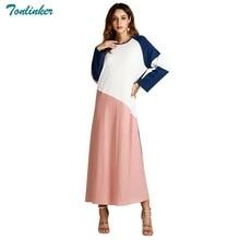 Tonlinker invierno otoño 2018 mujeres musulmanes Abaya árabe turco Dubai  contraste color Patchwork vestidos estilo casual urbano. 6019657d5af3
