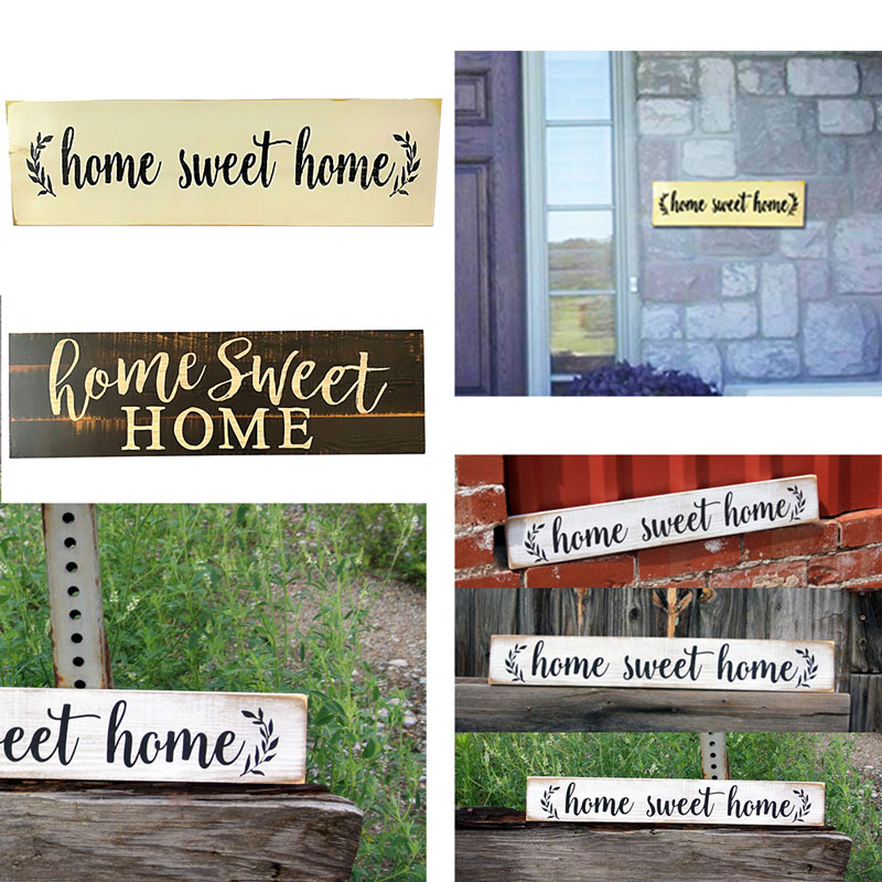 Rustic Wood Sign Farmhouse Style Sign Creative Home Sweet Home Wooden Housewarming Home Decorative Shelf Tabletop Drop Shipping
