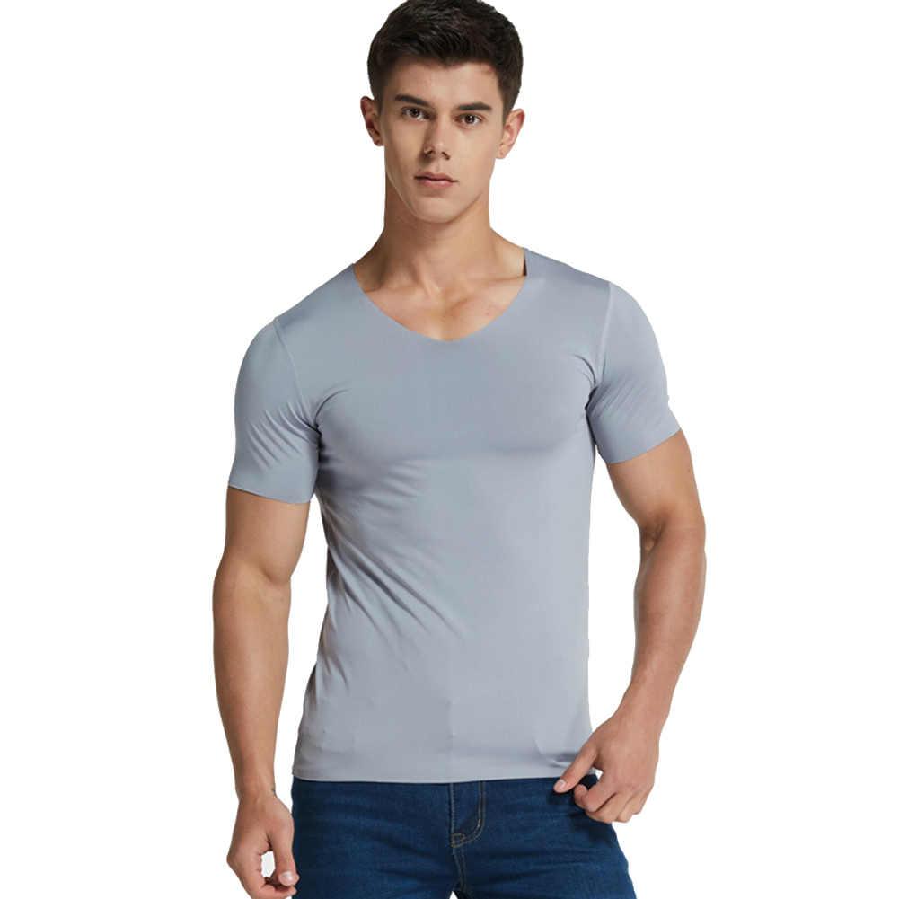 男性のシルク速乾 Tシャツ半袖セクシーな Tシャツソリッドカラー通気性トップ AIC88