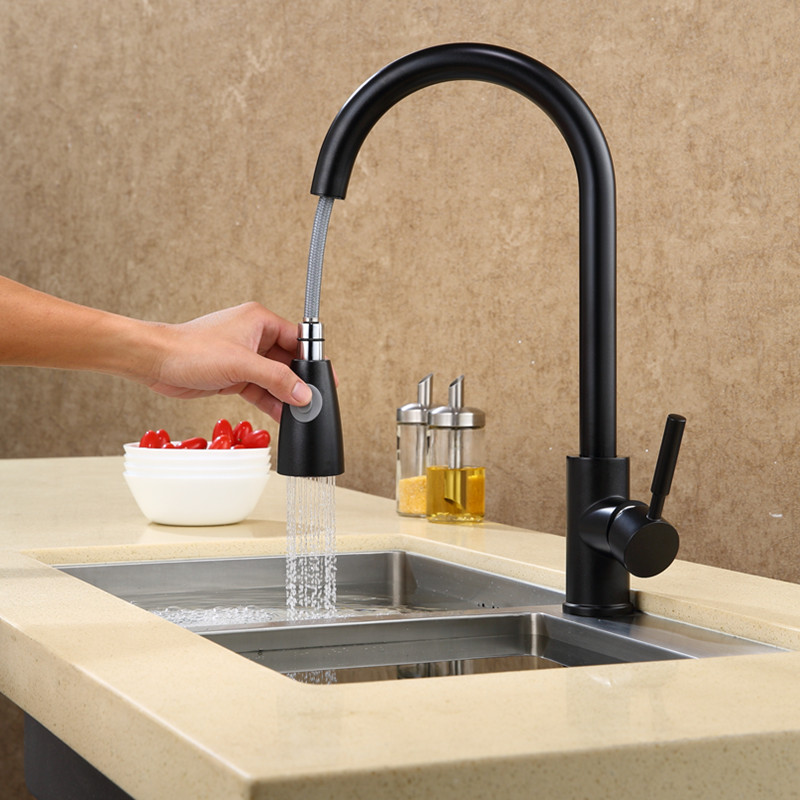 Brass Pull Out Type Kitchen Faucet Cold And Hot Water Wash