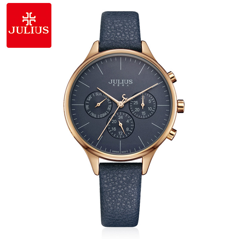 Julius Luxury Women Wrist Watch ladies Silver Rose Gold Quartz Leather Business Watches Auto Day Date Female Clock Reloj Mujer julius luxury brand women watch fashion rose gold watches women fashion casual quartz ladies wristwatch reloj mujer clock female