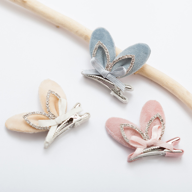 Plush rabbit ears children hairpin girls hair ornaments bow knot hair clip 2017 new hair accessories for kids side clips tiara 1pcs hair clip black claw clip crystal pearl plastics for women baby party festival rhinestone hairpin 2 sizes hair accessories
