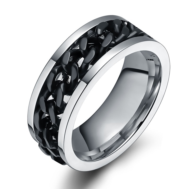 QCOOLJLY Latest Fashion Female Male Ring Punk Rock Accessories Stainless Steel Black Chain Spinner Rings For Women Men Size 6-10