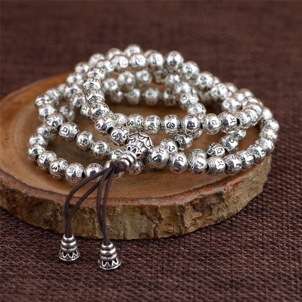 Dropship 6MM Six Words 108 Beads Mala Mantra Strand Bracelet 925 Sterling Silver Om Mani Padme Hum Beads Unisex Prayer Bracelet