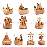 Carousel Musical Boxes Wooden Music Box Wood Crafts Retro Birthday Gift Vintage Home Decoration Accessories 1pcs
