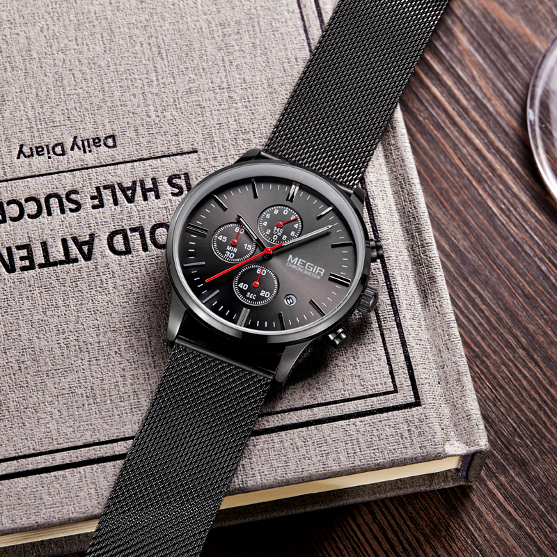 MEGIR Fashion Mesh Band Watch Men Luxury Top Brand Quartz Watches Man Thin Dial Quartz-Watch Wristwatches Male Relogio Masculino