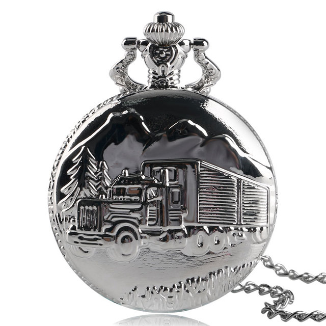 Solid Silver Lorry Carving Pocket Watch Simple Truck Car Pattern Slim Necklace C
