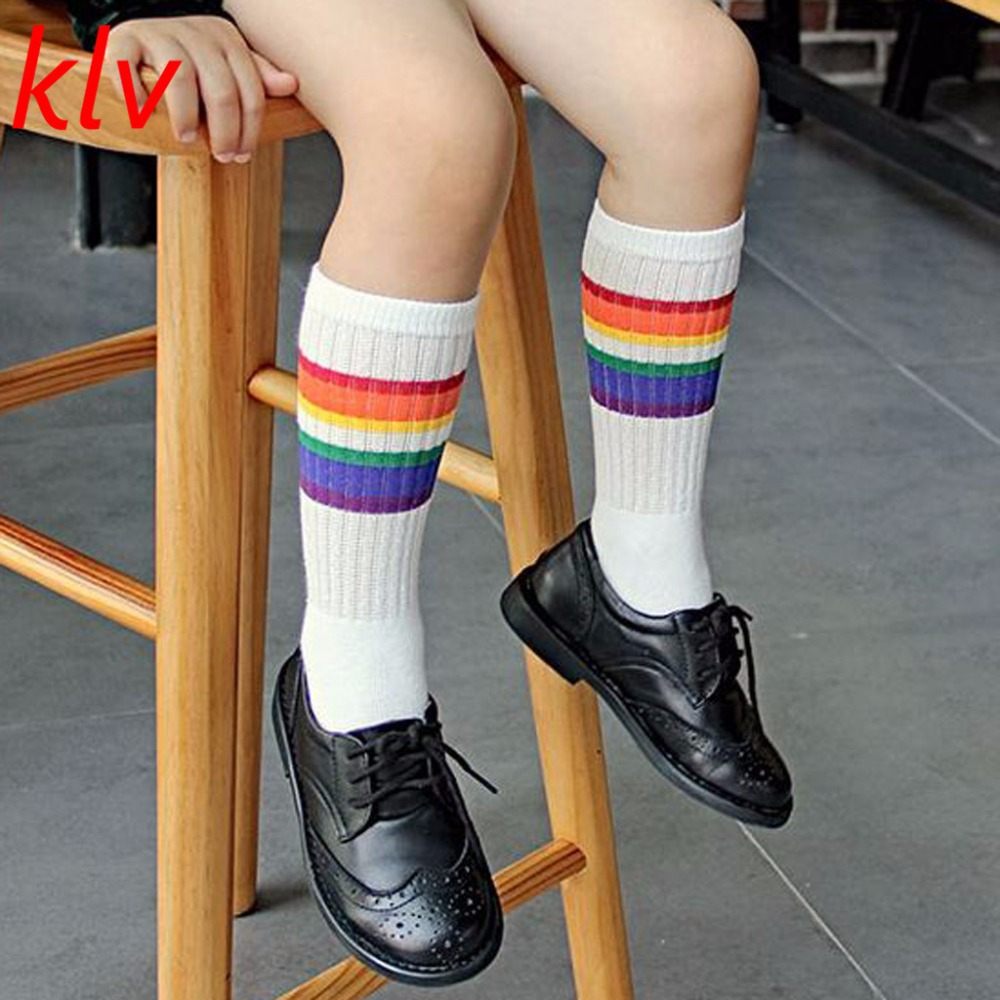 Cute Rainbow Winter Autumn Ankle Warmers Calf Length Tube Crew Socks For Child Or Toddler 1-6 Years Socks ombre circle calf length socks