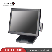 High Configuration 15 Inch POS System With 5-wire Touch Screen With Card Reader And VFD