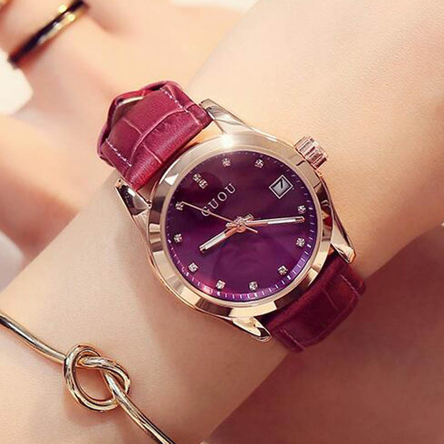 GUOU Luxury Brand Day Date Genuine Leather Strap Woman Casual Quartz Clocks Lady