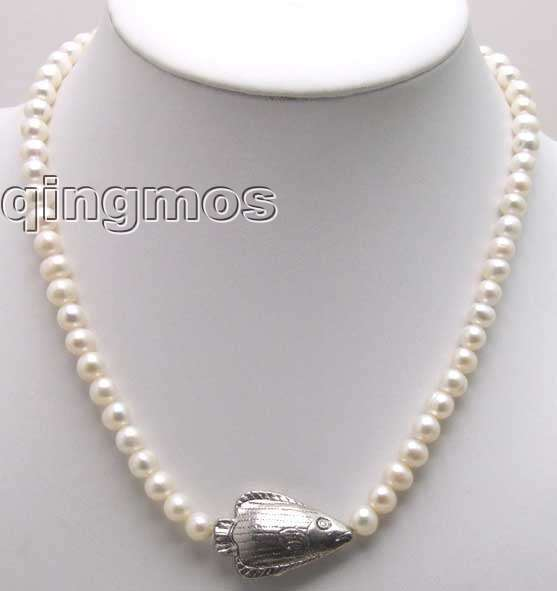 SALE 6-7mm NATURAL WHITE FW CULTURED PEARL NECKLACE with Tibetan Silver fish-nec5379 Free shipping цена и фото