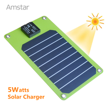 Amstar 5W Solar Charger Portable Solar Power Bank Sunpower High Efficiency Panel Solar for iphone 7 6 5S Plus Samsung S7 Edge