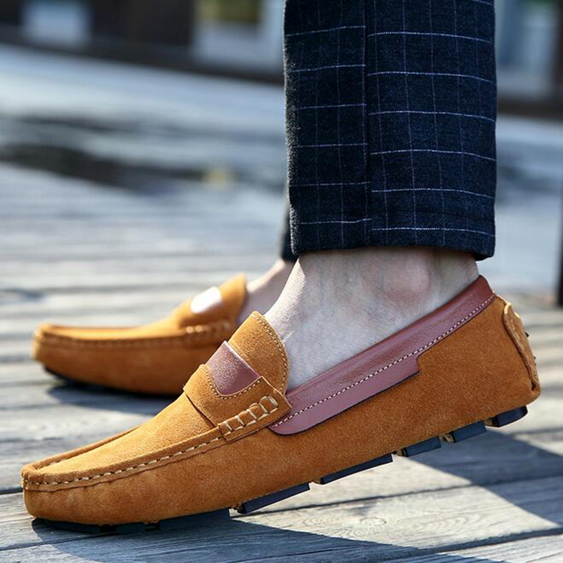 New Nice Genuine Leather Men Boat Shoes Slip On Moccasins Loafers Handmade Suede Leather Flats Men Casual Driving Shoes PP168 handmade genuine leather men s flats casual haap sun brand men loafers comfortable soft driving shoes slip on leather moccasins