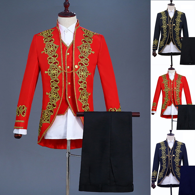 Retro Medieval Gothic Men Suit Court Gown Costume Theater Stage Show Singer Dancer Suit
