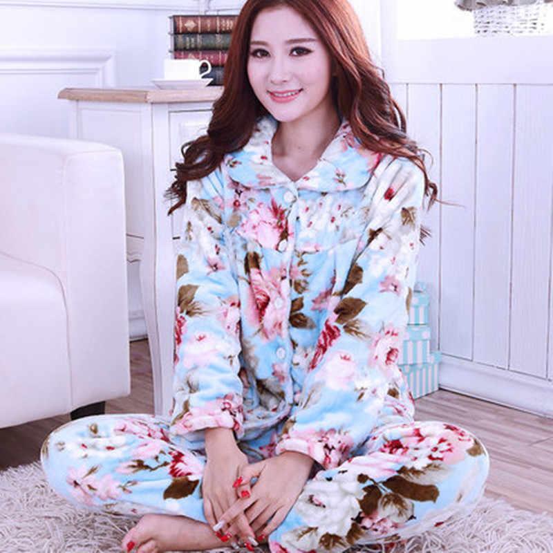 ... Winter Women s Pyjamas Print Love Thick Flannel Warm Pajama Set Long  Sleeve Full Trousers Two Piece ... 48f348884