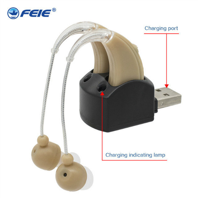 USB Cheap Aide Auditive Rechargeable Clear Earphone 2 Deaf Hearing Aids S-109S For Medical Instrument free shipping
